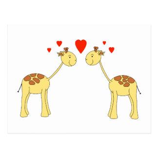 Two Facing Giraffes with Hearts. Cartoon. Postcard