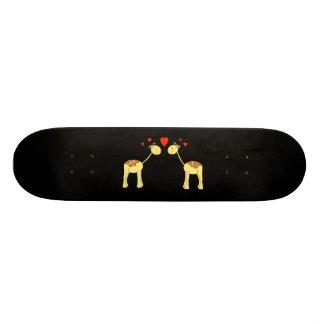 Two Facing Giraffes with Hearts. Cartoon. Custom Skate Board