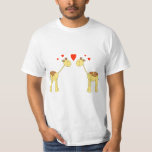Two Facing Giraffes with Hearts. Cartoon. Tees