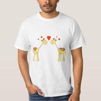 Two Facing Giraffes with Hearts. Cartoon. Tees