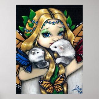 Two Fae Ferrets ART PRINT  fairy ferret fantasy