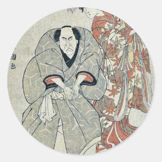 Two famous actors by Utagawa,Toyokuni Classic Round Sticker