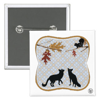Two Fectching Foxes 2 Inch Square Button