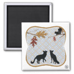 Two Fectching Foxes Refrigerator Magnet