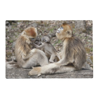 Two female Golden Monkeys with newborns Placemat