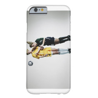 Two female soccer players in mid air heading barely there iPhone 6 case