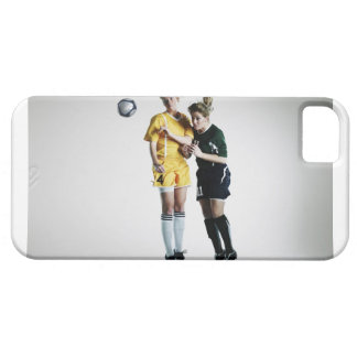 Two female soccer players in mid air heading iPhone 5 cases