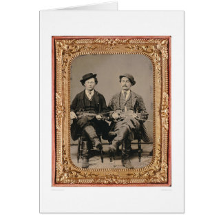 Two fiddlers, seated with instruments (40050) card