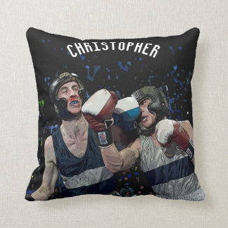 Two Fighting Boxers In Helmets In Blue And White Throw Pillow