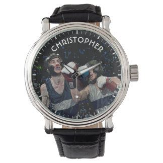 Two Fighting Boxers In Helmets In Blue And White Wristwatch