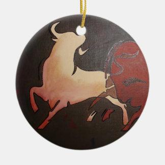 Two Fighting Bulls Ceramic Ornament