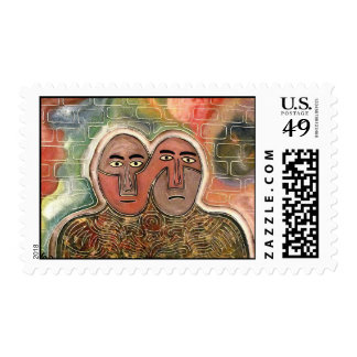 Two figures by rafi talby postage stamp
