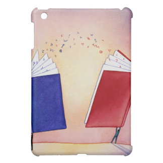 Two figures holding books above heads; symbols iPad mini covers
