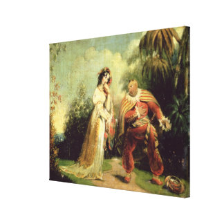 Two figures in Turkish costume in an Eastern lands Stretched Canvas Print