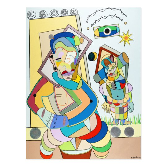 """""""Two Figures: O and Ru"""" by Ruchell Alexander Postcard"""