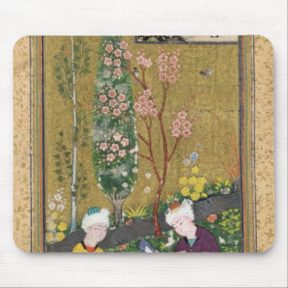 Two Figures Reading and Relaxing in an Orchard Mouse Pad