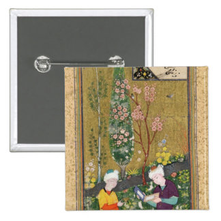 Two Figures Reading and Relaxing in an Orchard Pinback Button