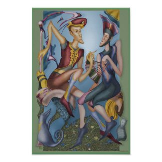 Two figures retro watercolor poster