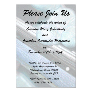 two fingers bass sparkle blue 5x7 paper invitation card