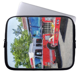 Two Fire Engines in Front of Firehouse Laptop Computer Sleeves