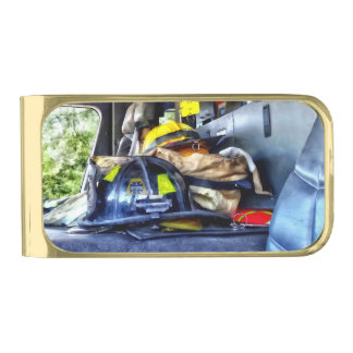 Two Firefighter's Helmets Inside Fire Truck Gold Finish Money Clip