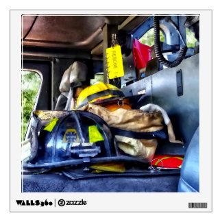 Two Firefighter's Helmets Inside Fire Truck Wall Decal