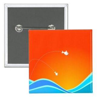 Two Fish Jumping In The Sea 2 Inch Square Button