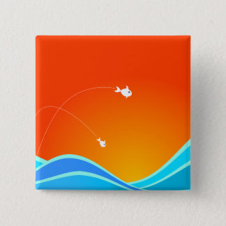 Two Fish Jumping In The Sea Pinback Button