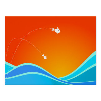 Two Fish Jumping In The Sea Poster