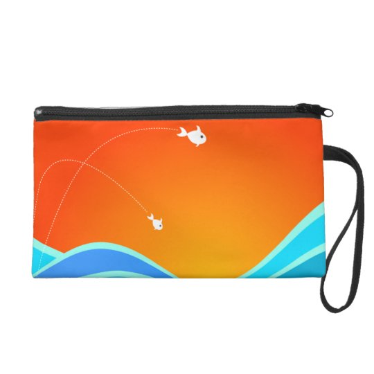 Two Fish Jumping In The Sea Wristlet Purse