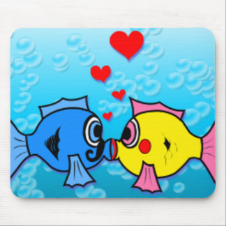 Two Fish Kissing, Underwater Scene Mouse Pad