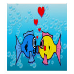 Two Fish Kissing, Underwater Scene Poster