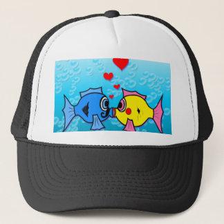 Two Fish Kissing, Underwater Scene Trucker Hat