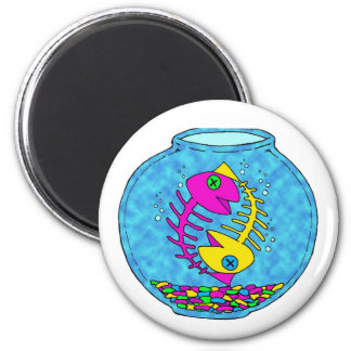 two fish living in a fish bowl year after year. 2 inch round magnet