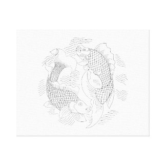 Two fish vintage jagged drawing very light.png canvas print