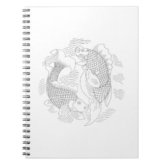 Two fish vintage jagged drawing very light.png notebook