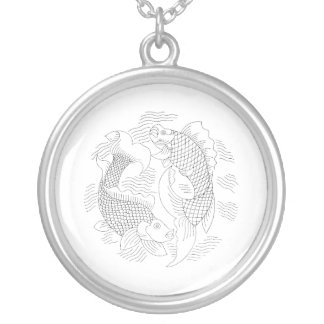 Two fish vintage jagged drawing very light.png round pendant necklace