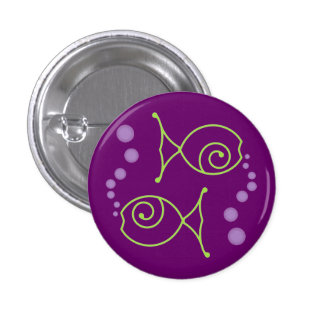Two Fish With Bubbles 1 Inch Round Button