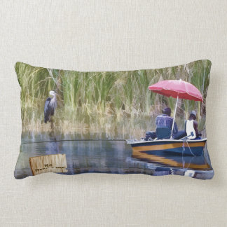 Two Fishermen at the Lake Throw Pillow