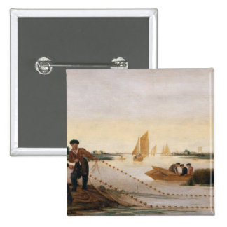 Two Fishermen Pulling in their Nets 2 Inch Square Button