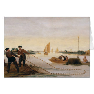Two Fishermen Pulling in their Nets Greeting Card
