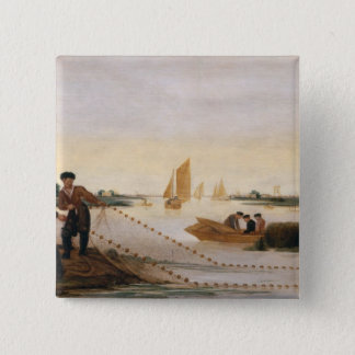 Two Fishermen Pulling in their Nets Pinback Button