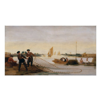 Two Fishermen Pulling in their Nets Poster