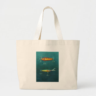 Two Fishing Lures Large Tote Bag
