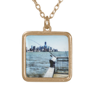 Two Fishing Poles Square Pendant Necklace