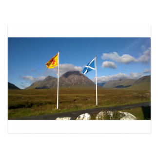 two flags of Scotland Postcard