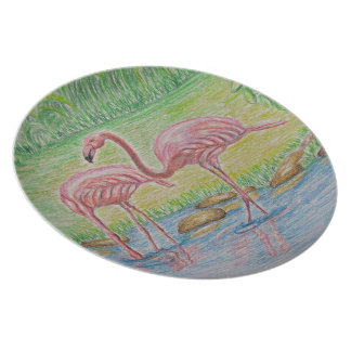 two Flamingos Dinner Plate