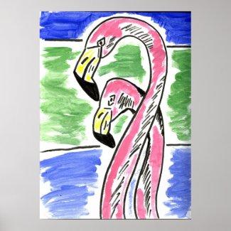 Two Flamingos print