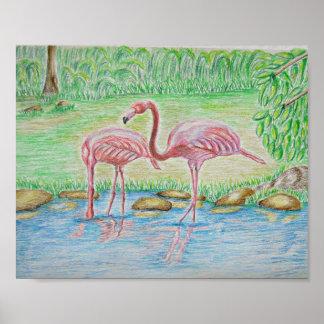 two Flamingos Poster