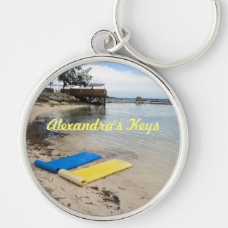 Two Floats Personalized Silver-Colored Round Keychain